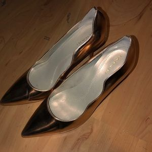Tahari pumps.  Scalloped gold
